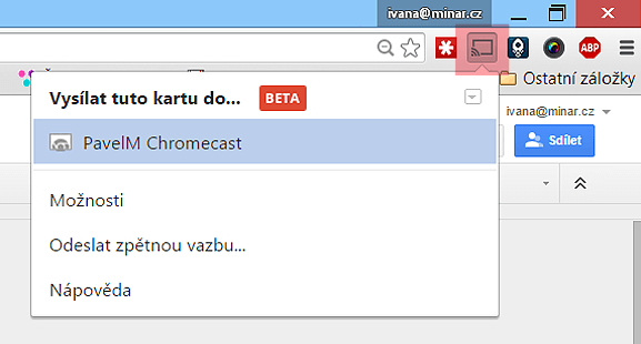 Internetový prohlížeč Chrome - ikona pro přenos obrazu do Chromecastu