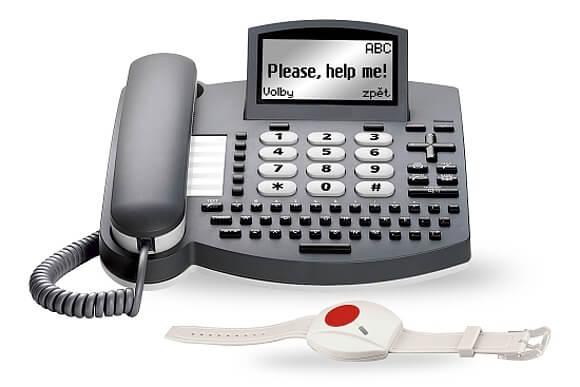 Sada Help Me! kit - stolní telefon s tísňovým tlačítkem (zdroj: www.jablocom.cz/)