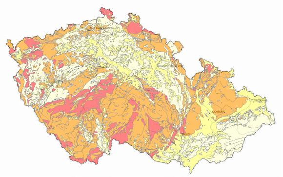 Radonová mapa České republiky (Zdroj: Česká geologická služba)