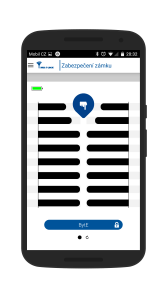 Mobilní aplikace - obrazovka pro otevření zámku