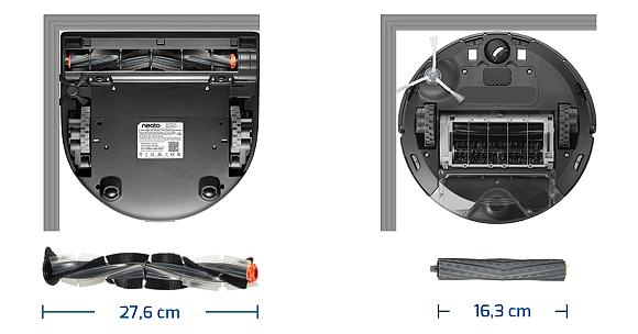 Srovnání spodní strany vysavačů Neato (vlevo) a konkurenčního produktu. Umístění kartáče by mělo zaručit kvalitnější úklid (zdroj: Neato Robotics).