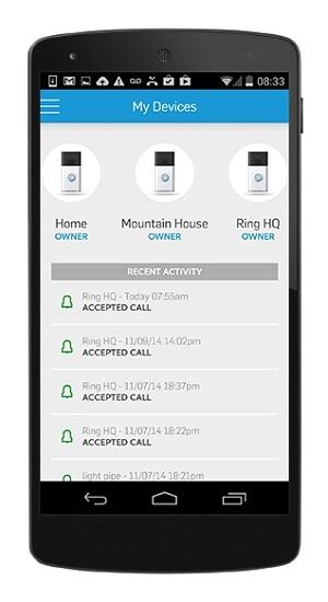 Aplikace na mobilním telefonu (Zdroj: www.ring.com)