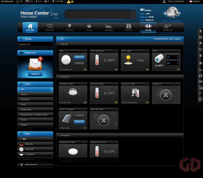 Webový prohlížeč - přehled zařízení v mém bytě