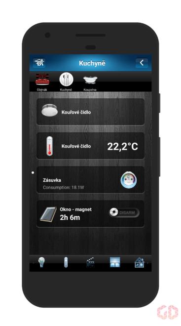 Aplikace pro mobilní telefon - zařízení v koupelně